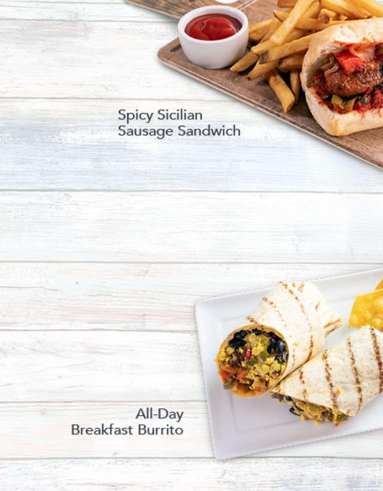 Veggie Grill All Day Breakfast Burrito and Spicy Sicilian Sausage Sandwich